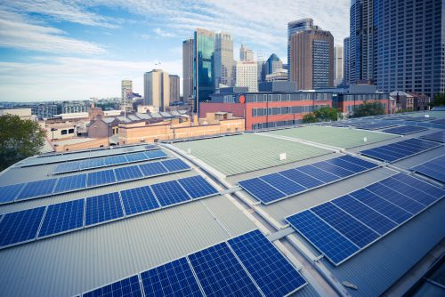 Sydney, City Architecture and Photovoltaic Panels
